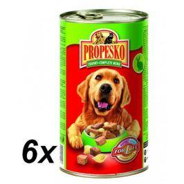 Propesko kousky pes králík+hovězí+těstoviny 6 x 1240g