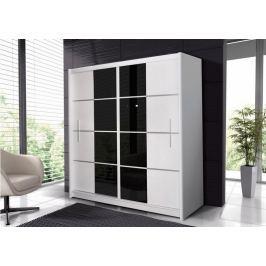 Šatní skříň s posuvnými dveřmi PORTO 203, bílá/černé sklo