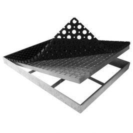 FLOMAT Kovová rohož ze svařovaných podlahových roštů s gumou s pracnami Galva - 101,5 x 60 x 6 cm