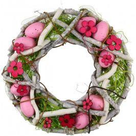 Seizis Velikonoční věnec z proutí 23 cm, růžový