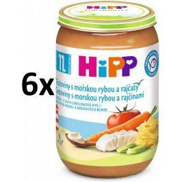 HiPP Jemné těstoviny s mořskou rybou a rajčaty, 6 × 220g