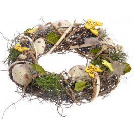 Kaemingk Velikonoční věnec hnědo-žlutý, 25 cm