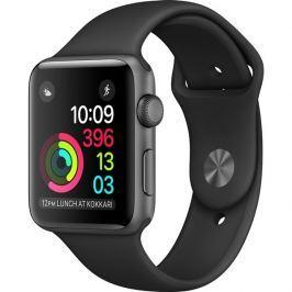 Apple Watch Series 1, 38 mm, vesmírně šedý hliník – černý sportovní řemínek