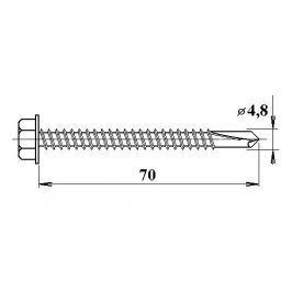 LanitPlast Šroub do železa TEX 4,8 x 70 mm šestihranná hlava (10 ks)