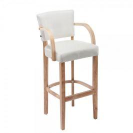 BHM Germany Barová židle s dřevěnou podnoží a područkami Ellen, bílá