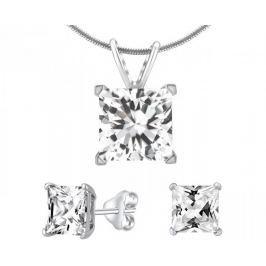 Silvego Stříbrný set šperků s čirým křišťálem JJJSQ55 stříbro 925/1000