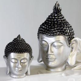 Papillon Soška Buddha hlava, 26 cm, stříbrná/antracit