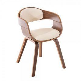 BHM Germany Jídelní / jednací židle Kingdom ořech (SET 2 ks), krémová