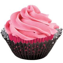 Wilton Košíčky na muffiny dvojité s krajkou černo růžové 50x33mm 24ks + 24ks