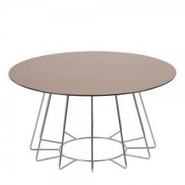 Design Scandinavia Konferenční stolek Goldy, 80 cm, chrom/bronz