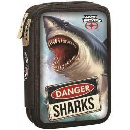 GIM Dvoupatrový plněný penál No Fear shark
