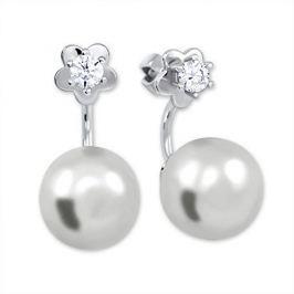 Brilio Silver Stříbrné náušnice se syntetickou perlou a čirým krystalem 438 001 01784 04 - 4,05 g stříbro 925/1000
