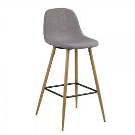 Design Scandinavia Barová židle Wanda (SET 2 ks), dub/sv. šedá