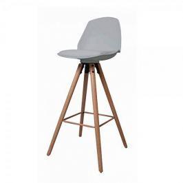 Danish Style Barová židle s dřevěnou podnoží Stephie, šedá