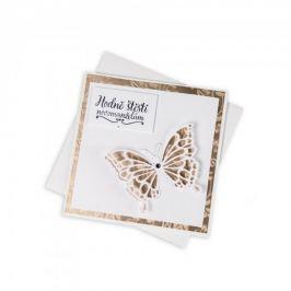 Svatební přání, krémové s motýlem a Swarovski krystalem