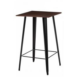 Mørtens Furniture Barový stůl Mason, tmavé dřevo, černá