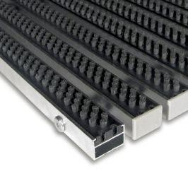FLOMAT Šedá hliníková čistící kartáčová venkovní vstupní rohož Alu Super - 60 x 90 x 2,2 cm