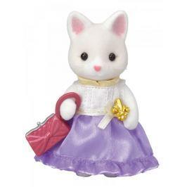 Sylvanian Families Hedvábná kočka ve fialových šatech s kabelkou 6003