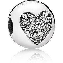 Pandora Stříbrný klip Srdce zimy 796388CZ stříbro 925/1000