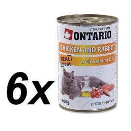 Ontario konzerva kuře, králík a losos.olej 6x400g