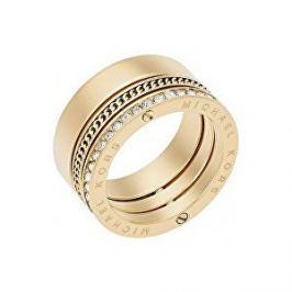 Michael Kors Pozlacený ocelový prsten s krystaly MKJ5836710 (Obvod 56 mm)