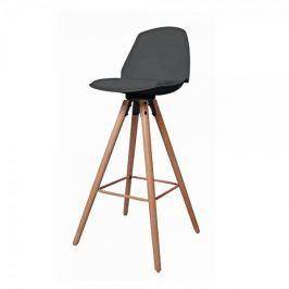 Danish Style Barová židle s dřevěnou podnoží Stephie, černá