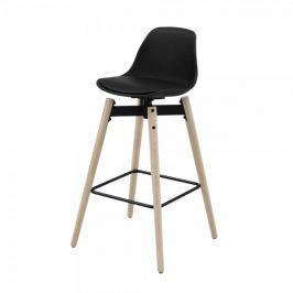 Danish Style Barová židle s dřevěnou podnoží Zina, černá
