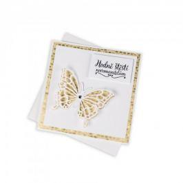 Svatební přání, zlaté s motýlem a Swarovski krystalem