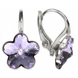 Troli Dívčí stříbrné náušnice Flower Violet stříbro 925/1000