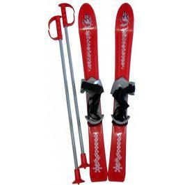 Acra Lyže dětské + hůlky + vázání 70cm červená