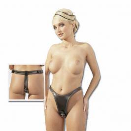 Kožená tanga se dvěma dildy (L-XL)