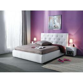 JASMINE, postel 160x200, bílá ekokůže