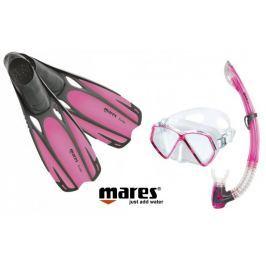 Mares Sada PIRAT maska, šnorchl s ploutvemi 31/33 růžová