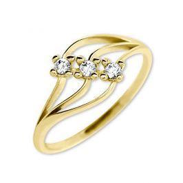Brilio Dámský prsten s krystaly 229 001 00546 - 1,40 g (Obvod 55 mm) zlato žluté 585/1000