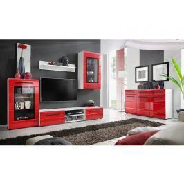 Obývací stěna TIMBER 1, bílá/červený lesk