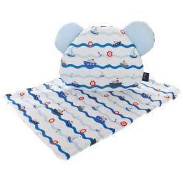 CuddlyZOO Peřinka + polštář s oušky, námořník/modrá