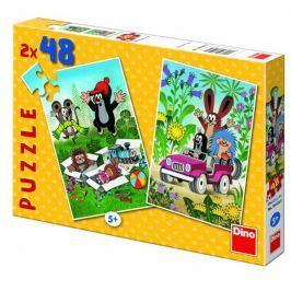 Dino Krteček se raduje puzzle, 2x 48 dílků