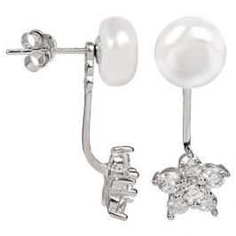 JwL Luxury Pearls Stříbrné dvojnáušnice s pravou bílou perlou a zirkonovou kytičkou JL0281 stříbro 925/1000