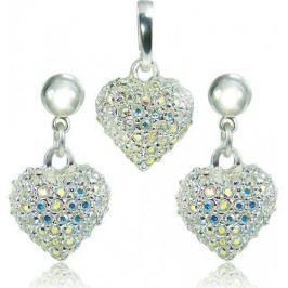 MHM Souprava šperků Srdce M4 Crystal AB 3489 stříbro 925/1000