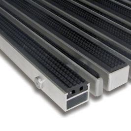 FLOMAT Hliníková gumová čistící vstupní kartáčová venkovní rohož Alu Extra - 100 x 100 x 2,7 cm