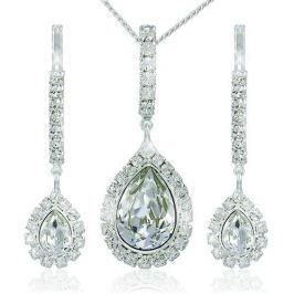 MHM Štrasová sada náušnic a náhrdelníku Avril Crystal 3497 stříbro 925/1000