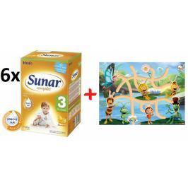 Sunar kojenecké mléko Complex 3 banán - 6 x 600g + Bludiště s Včelkou Májou