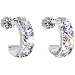 Evolution Group Stylové náušnice s krystaly Violet 31118.3 stříbro 925/1000