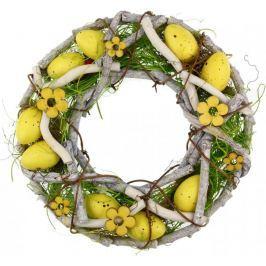Seizis Velikonoční věnec z proutí 23 cm, žlutý