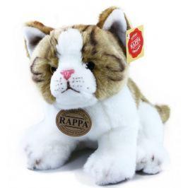 Rappa Plyšová kočka hnědo-bílá, sedící, 18 cm