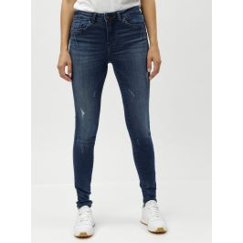 Modré skinny džíny s potrhaným efektem Noisy May