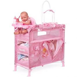 DeCuevas Toys Skládací postýlka pro panenky s 5 funkčními doplňky Maria 2018