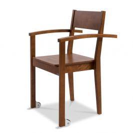 Tmavě hnědá učně vyráběná jídelní židle z masivního březového dřeva s područkami a kolečky Kiteen Joki