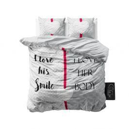 Růžovo-šedé povlečení z mikroperkálu na dvoulůžko Sleeptime What Do You Love,160x200cm