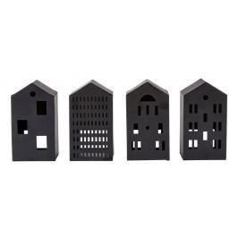 Sada 4 černých figurek ve tvaru domku Villa Collection